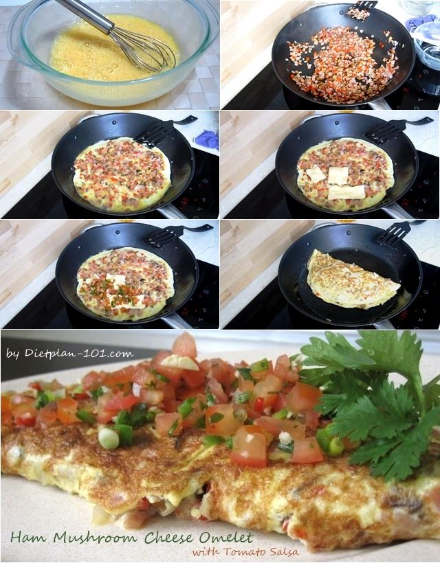 ham-mushroom-cheese-omelet-salsa
