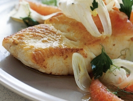 Roasted Halibut Fillet with Grapefruit Fennel Salsa Recipe