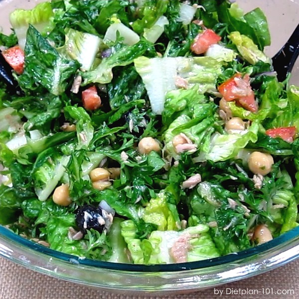 Romaine Chickpea Tuna Chopped Salad (South Beach Phase 1 Recipe)