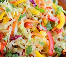 Low-Calorie Mixed Pepper Coleslaw with Peanut Dressing Recipe