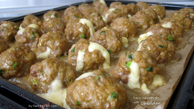 Taco Meatball with Stuffed Cheddar by Dietplan-101.com