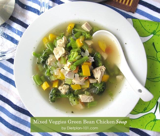 mixed-veggies-green-bean-chicken-soup-plate