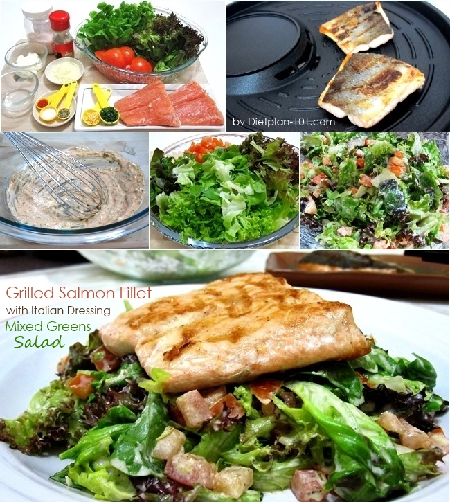 Grilled Salmon Fillet with Italian Dressing Mixed Greens Salad (Atkins ...