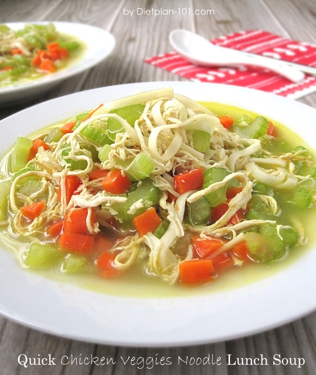 Quick Chicken Veggies Noodle Lunch Soup For The Zone Diet Dietplan 101