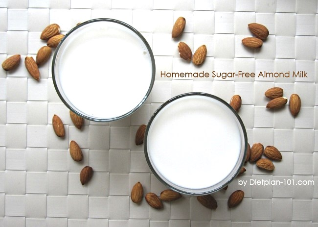 Homemade sugar-free almond milk