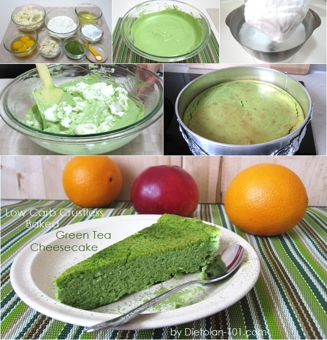 Low carb crustless baked green tea cheesecake recipe for Atkins quick cuisine bake mix